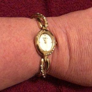Fossil watch like bracelet with rhinestones